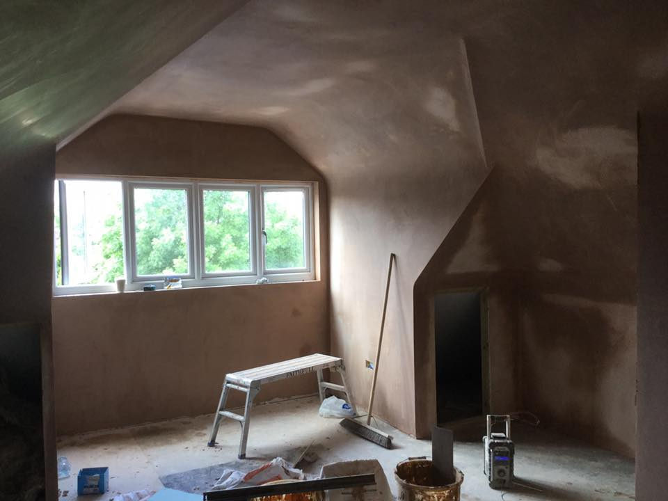 Indoor wall being plastered