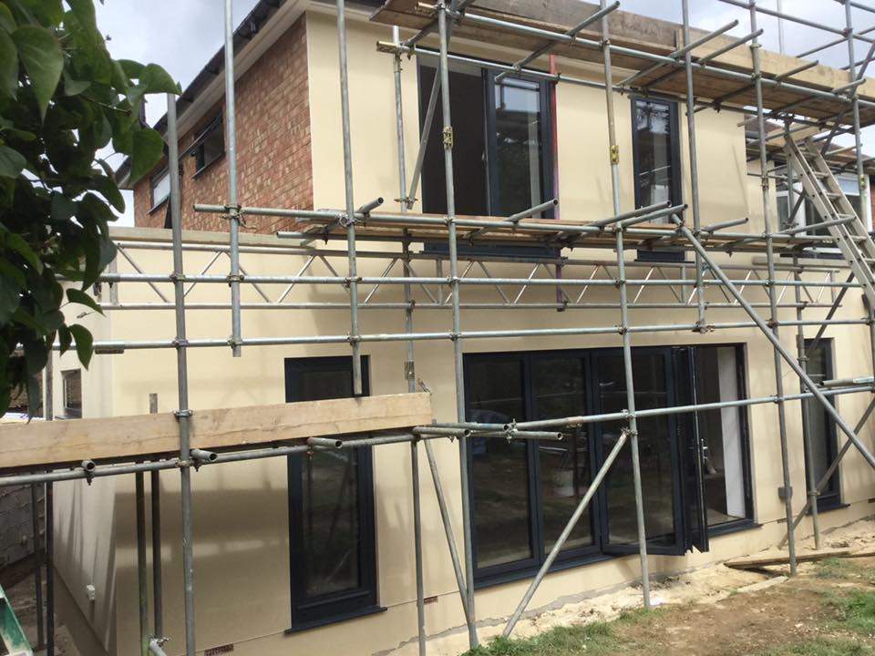 Scaffolding surrounding a house