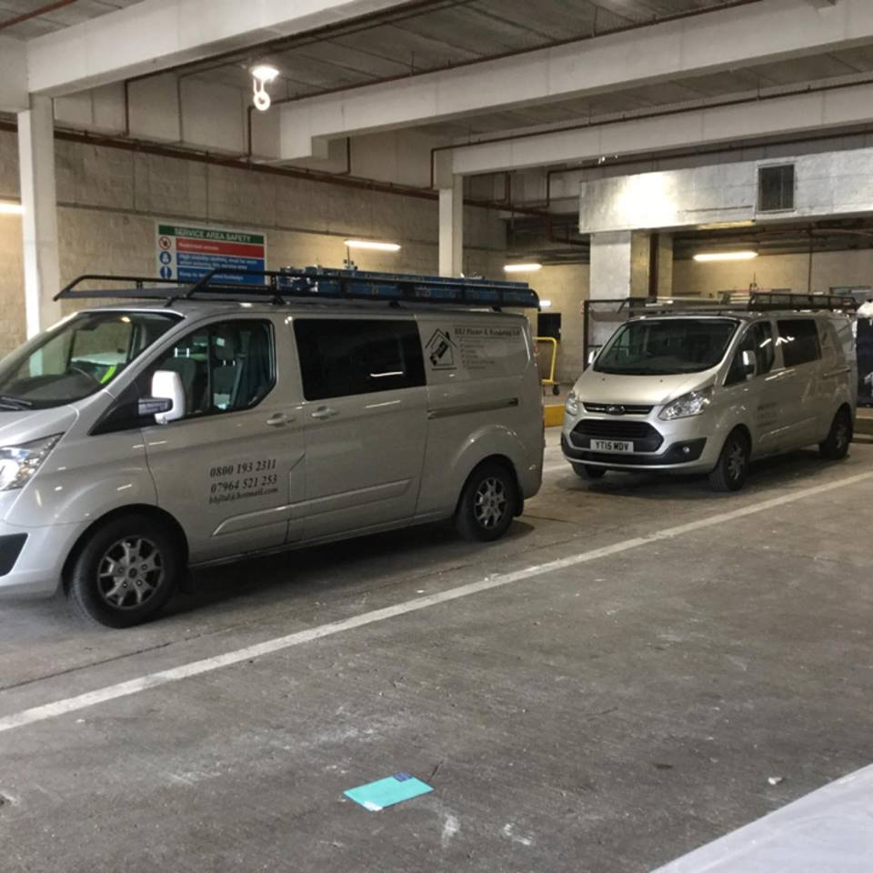 BBJ Vans parked in a commercial space
