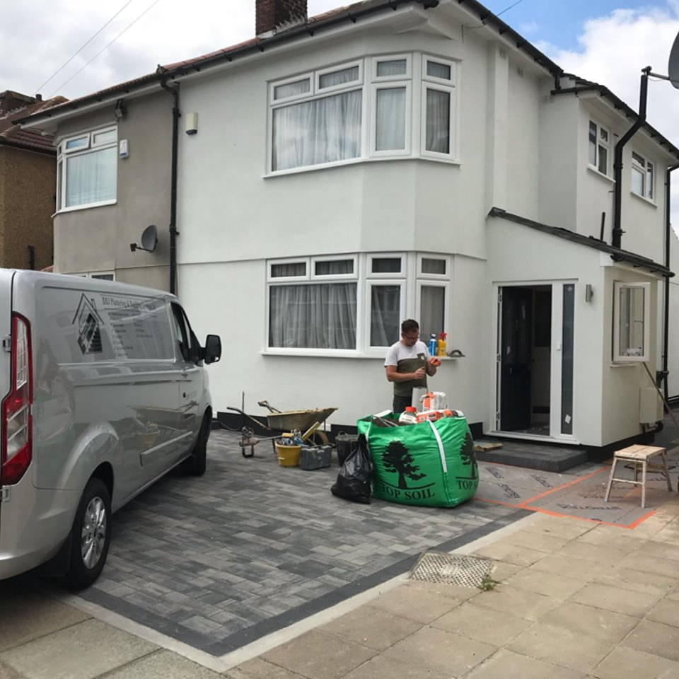 BBJ Plaster & Rendering van outside a customer's house