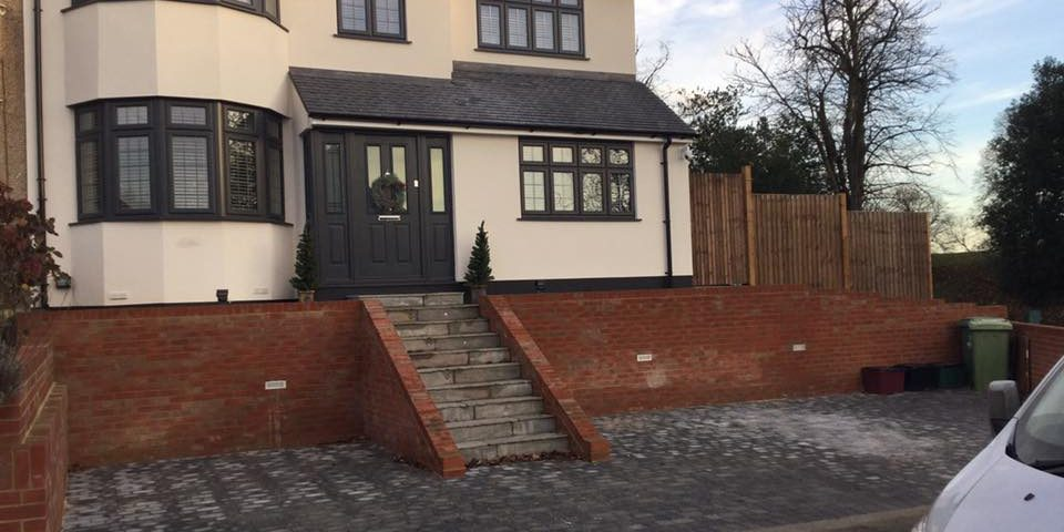 Large house and driveway fully completed.